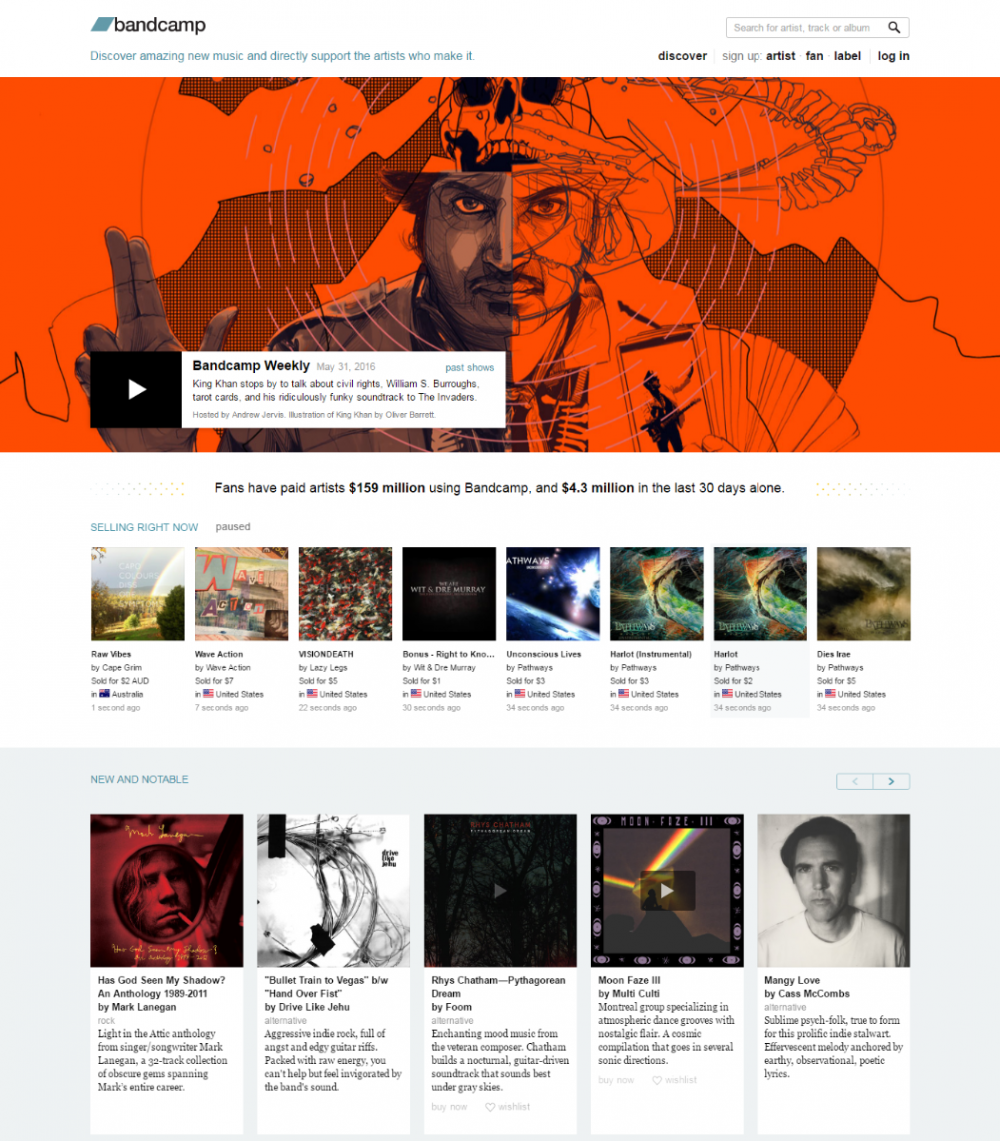Discover new music at Bandcamp